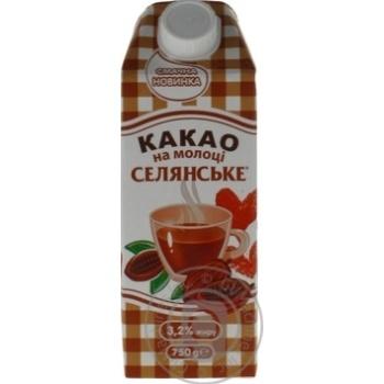 Напій молочний  ультрапастеризований 3,2%  Какао на молоці Селянське 750г