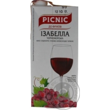Picnic Izabella red semi-sweet dessert wine 9-12% 1l