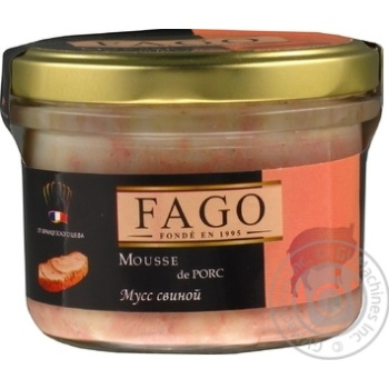 Mousse Fago pork canned 180g glass jar - buy, prices for Novus - image 1