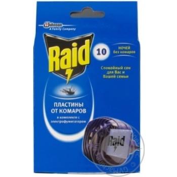 Электрофумигаторы Raid от комаров в комплекте с 10 пластинами
