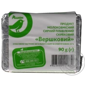 Продукт сырный Ашан плавленый сливочный 20% 90г
