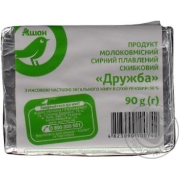 Сырный продукт Ашан Дружба плавленый молокосодержащий 50% 90г