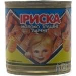 Молоко Первомайский молочноконсервный комбинат Ириска сгущенное вареное нежирное 370г