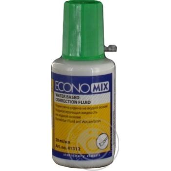 Корректирующая жидкость Economix на водной основе со щеточкой 20мл