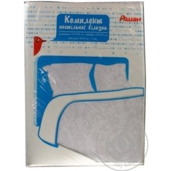 Auchan White One And Half Bedding Set - buy, prices for Auchan - photo 1