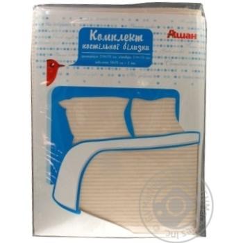 Комплект Ашан постельного белья двуспальный 175x210см - купить, цены на Ашан - фото 4