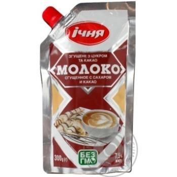 Молоко сгущенное Ичня с сахаром и какао 7,5% 300г - купить, цены на Фуршет - фото 1