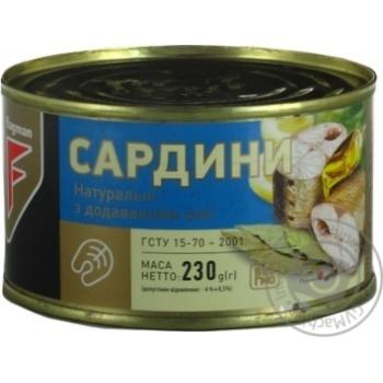 Сардины Flagman натуральные с добавлением масла 230г