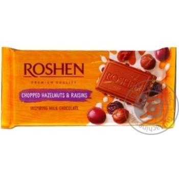 Шоколад Roshen Classic молочный с измельченными лесными орехами и изюмом 90г - купить, цены на Novus - фото 3