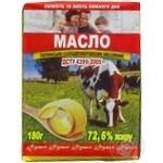 Масло сладкосливочное Фуршет Крестьянское несоленое 72,6% 180г
