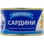 Сардина Аквамарин атлантична натуральна з додаванням олії 240г залізна банка Росія