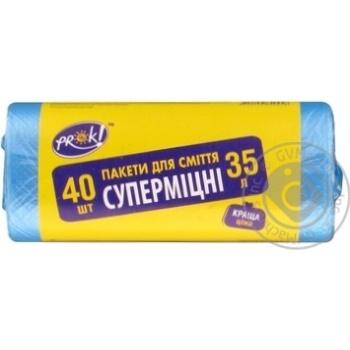 Пакети для мусора PrOK HDPE супердопомога 35л 40шт - купить, цены на Novus - фото 1