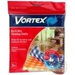 Серветки Vortex для сухого та вологого прибирання 3шт
