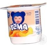 Cottage cheese Tema Apricot for 6+ months babies 4.2% 100g plastic cup Russia