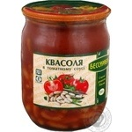 Vegetables kidney bean Besarabka in tomato sauce 500g glass jar Ukraine