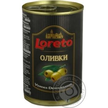 Оливки Loreto зелені без кісточки консервовані пастеризовані 300г - купити, ціни на Novus - фото 1