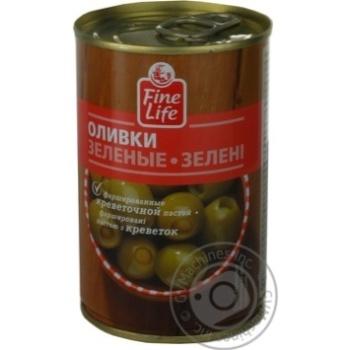 Оливки Fine Life зеленые фаршированные креветочной пастой 300г