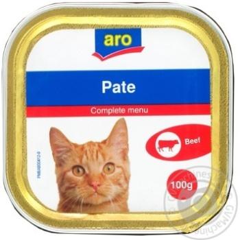 Паштет Aro с говядиной для котов 100г