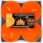 Свічка Джамбо Арома о57*23мм 4 шт Pragnis апельсин JMBA-ORF
