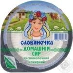 Творог Славяночка Домашний нежирный 341г ванночка Украина