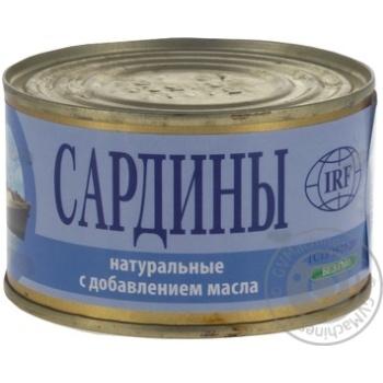 Сардины ИРФ натуральные с добавлением масла 230г