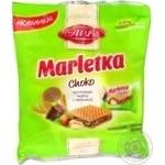Вафлі Marletka Choko зі смаком горіха шоколаду та арахісом АВК 180г