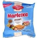 Вафли АВК Marletka Dessert хрустящие с двумя начинками со вкусом сливок и шоколада 155г Украина