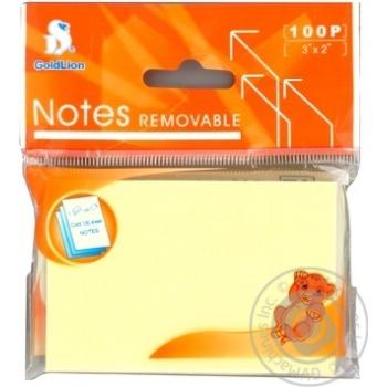 Стикеры Goldlion желтые 100 листов 76x51мм - купить, цены на Novus - фото 2