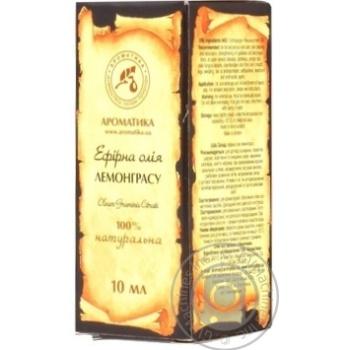 Масло эфирное Ароматика лемонграсса 10мл - купить, цены на Novus - фото 1
