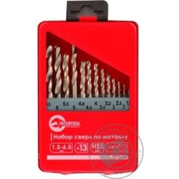 Набір свердел по металу InterTool HSS 13шт 1.5-6.5 полірована сталь SD-0113