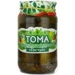 Vegetables cucumber Toma pickled 850g glass jar