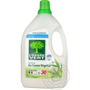 Средство для стирки L'Arbre Vert Растительное мыло 2л - купить, цены на Ашан - фото 1