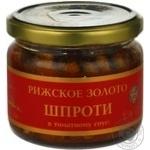 Sprats Ryzhske zoloto in tomato sauce 250g glass jar Latvia