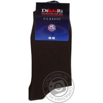 Шкарпетки чоловічі DiWaRi Classic 000 т-корич.р27 пара