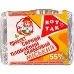 Продукт сырный Вот Так Миськый плавленый ломтевой 55% 100г Украина