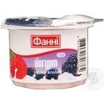 Йогурт Фанні лісова ягода 1.5% 120г пластиковий стакан Україна