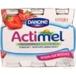 Fermented milk product Danone Actimel strawberry enriched with l Casei imunitass and vitamins B6 and D3 1.5% 6х100g plastic bottle Russia