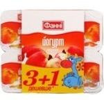 Йогурт Фанни персик 1.5% пластиковый стакан 4х120г Украина