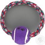 Іграшка для тварин Topsi Бавовняне кільце з тенісним м'ячем 1401 18*6см