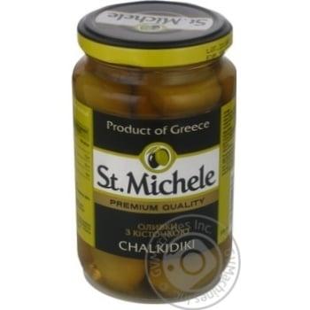 Оливки зелені з кісточкою сорт Халкідікі St.Michele склобанка 360г