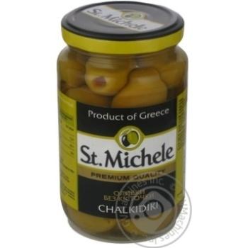 Оливки зелені без кісточки сорт Халкідікі St.Michele склобанка 360г