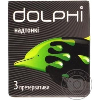 Презервативы Dolphi сверхтонкие для повышения чувствительности с накопителем и силиконовой смазкой 3шт