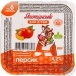 Паста сиркова Яготинське для дітей персик з 6 місяців 4.2% 100г пластиковий стакан Україна