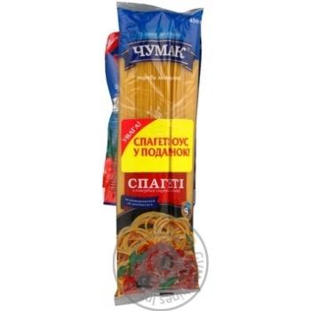 Макарони Чумак Спагеті довгорізані + спагетті-соус 250г