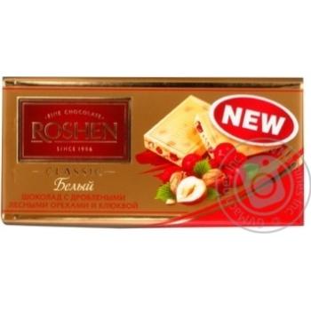Chocolate white Roshen with nuts bars 32% 100g Ukraine