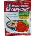 Каша овсяная Овсянушка с сахаром клубникой и сливками быстрого приготовления 45г