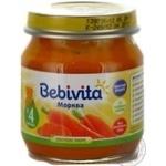 Пюре овощное Бебивита Морковь без соли для детей с 4 месяцев стеклянная банка 100г Россия