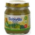 Пюре овощное Бебивита Брокколи без соли для детей с 4.5 месяцев 100г