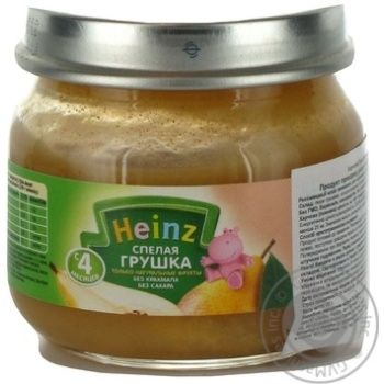 Puree Heinz Ripe Pear starch and sugar free for 4+ month old babies glass  jar 80g Italy