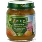 Puree Heinz Fruits and a cookies starch free with prebiotics and calcium for 6+ month old babies glass jar 120g Italy